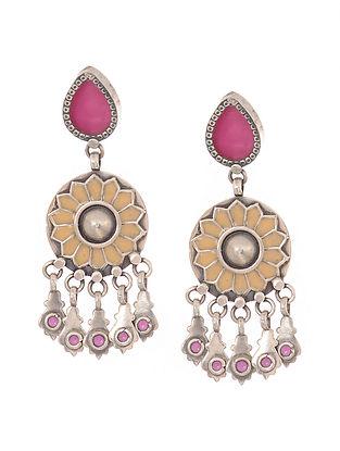 Pink-Peach Enameled Glass Silver Earrings