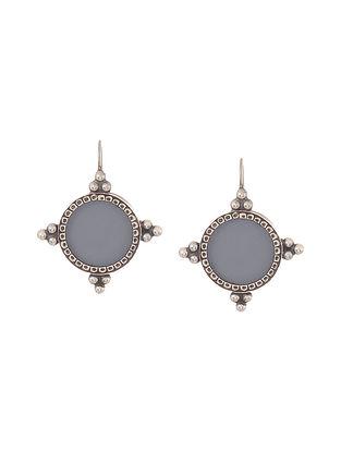 Purple Enameled Glass Silver Earrings