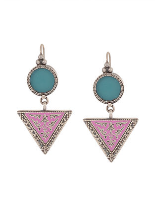 Pink-Blue Enameled Glass Silver Earrings