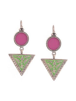 Pink-Green Enameled Glass Silver Earrings