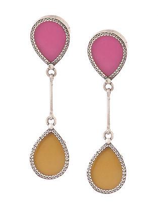 Pink-Yellow Enameled Glass Silver Earrings