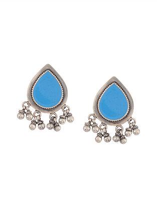 Green Enameled Glass Silver Earrings