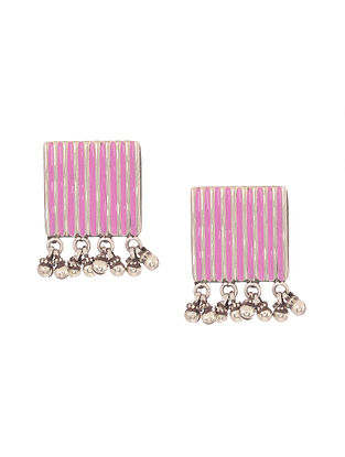 Pink Enameled Silver Earrings
