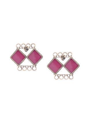 Pink Enameled Glass Silver Earrings
