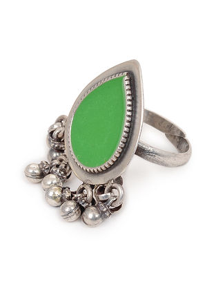 Green Enameled Glass Adjustable Silver Ring