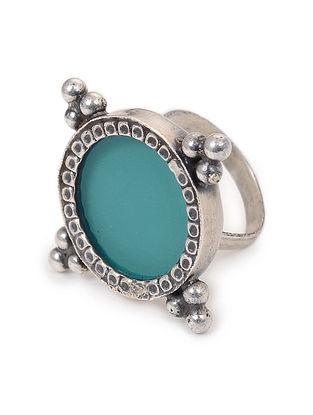 Blue Enameled Glass Adjustable Silver Ring
