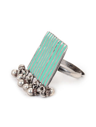 Turquoise Enameled Adjustable Silver Ring