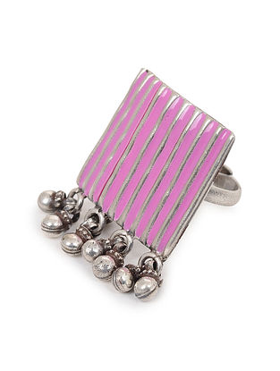Pink Enameled Adjustable Silver Ring