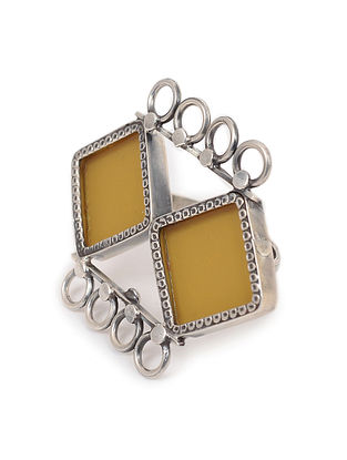 Yellow Enameled Glass Adjustable Silver Ring