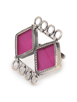 Pink Enameled Glass Adjustable Silver Ring