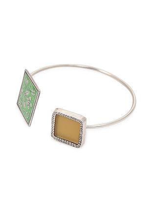 Green-Yellow Enameled Glass Silver Cuff