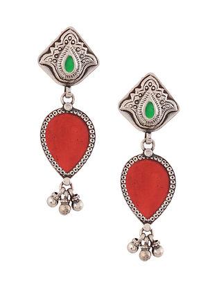 Red Green Enameled Glass Silver Earrings