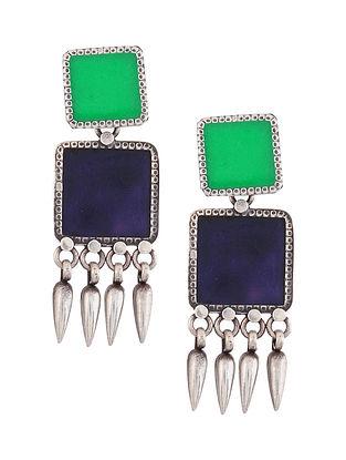 Blue Green Enameled Glass Silver Earrings