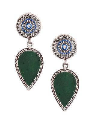 Green Blue Enameled Glass Silver Earrings