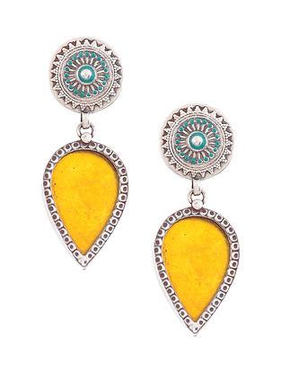 Yellow Blue Enameled Glass Silver Earrings
