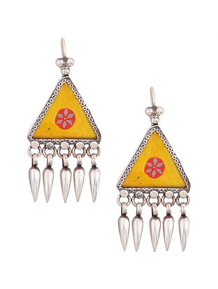 Yellow Red Glass Silver Earrings
