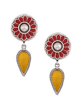 Yellow Red Enameled Glass Silver Earrings