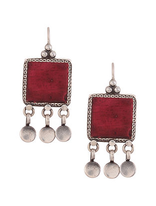 Maroon Glass Silver Earrings