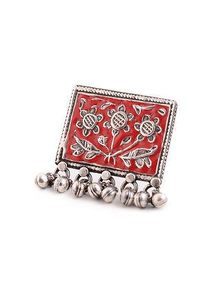 Red Enameled Adjustable Silver Ring
