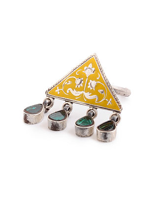 Yellow Green Enameled Glass Adjustable Silver Ring