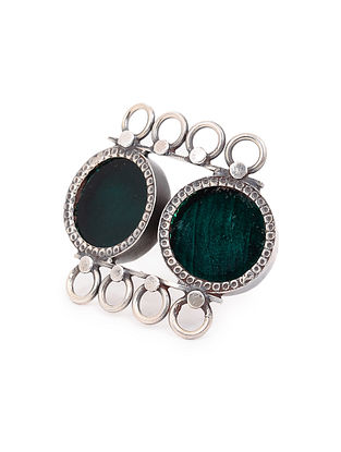 Teal Glass Adjustable Silver Ring