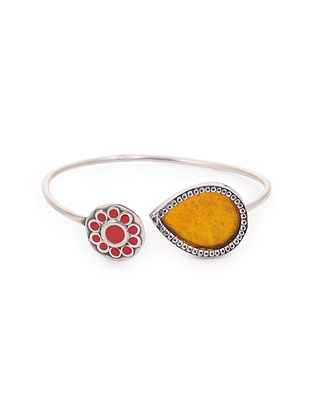 Red Yellow Enameled Glass Silver Cuff