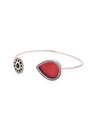 Red Black Enameled Glass Silver Cuff