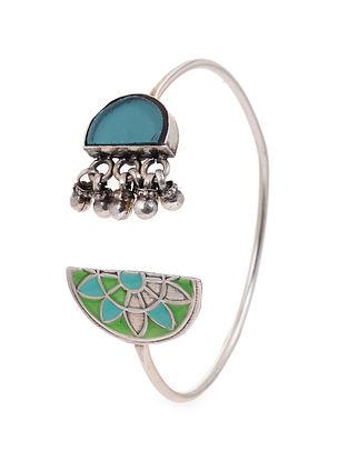Blue Green Enameled Glass Silver Cuff