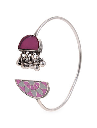 Pink White Enameled Glass Silver Cuff