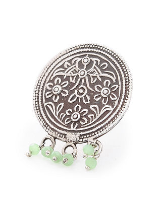 Green Tribal Silver Ring with Floral Motif (Ring Size-6.5)