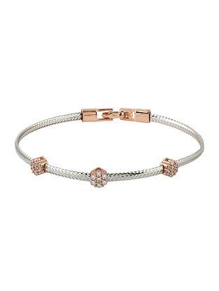 Rose Gold Tone Handcrafted Silver Bracelet