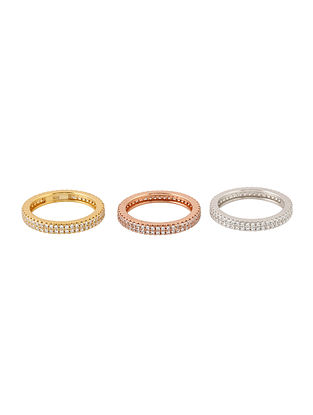 Dual Tone Handcrafted Silver Stackable Rings (Set of 3) (Ring Size: 9)