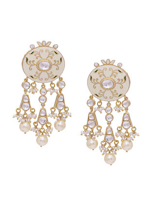 White Enameled Gold Tone Silver Earrings with Pearls