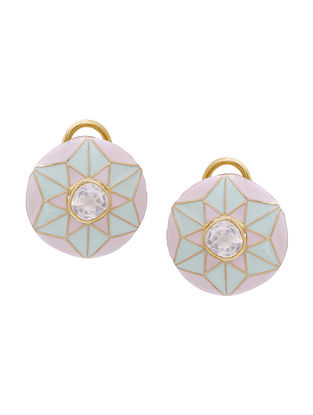 Pink Blue Enameled Gold Tone Silver Earrings