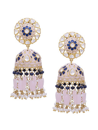 Pink Blue Enameled Gold Tone Silver Jhumki Earrings with Rose Quartz and Pearls