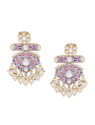 Multicolored Enameled Gold Tone Silver Earrings with Pearls