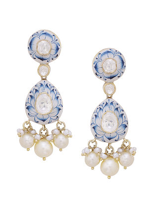 White Blue Gold Tone Silver Earrings with Pearls