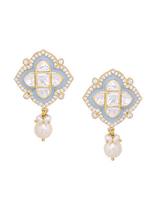 Blue Enameled Gold Tone Silver Earrings with Pearls