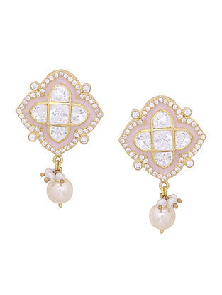 Pink Enameled Gold Tone Silver Earrings with Pearls