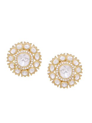Gold Tone Kundan Silver Earrings