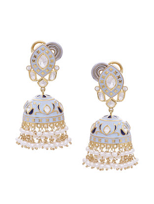 Blue Enameled Gold Tone Silver Jhumki Earrings with Pearls