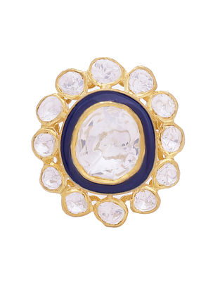 Blue Enameled Gold Tone Kundan Adjustable Ring