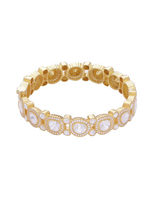 Gold Tone Kundan Silver Hinged Bangle (Bangle Size: 2/4)