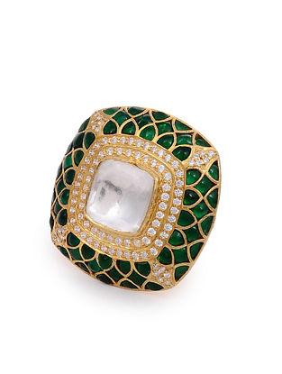 Green Gold Plated Kundan Adjustable Silver Ring