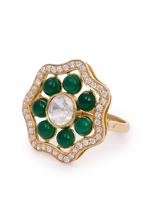 Green Gold Plated Silver Adjustable Ring