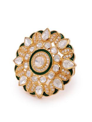 Green Meenakari Gold Plated Silver Adjustable Ring