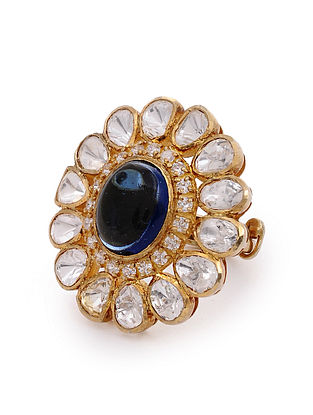Blue Gold Plated Kundan Silver Adjustable Ring