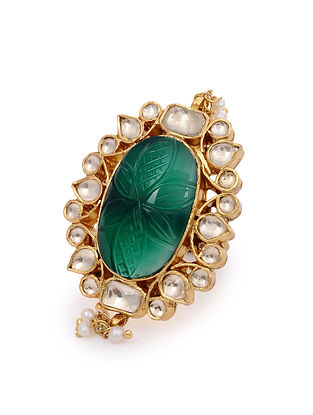 Green Gold Plated Kundan Silver Adjustable Ring with Pearls