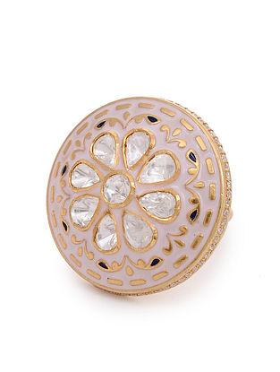 Pink Meenakari Gold Plated Kundan Silver Adjustable Ring