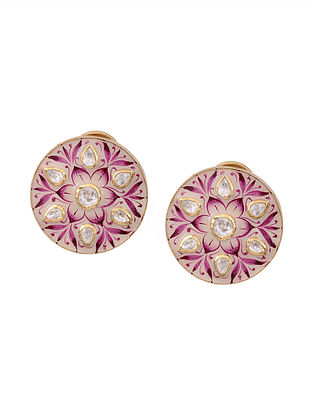 Pink White Enameled Gold Plated Silver Earrings